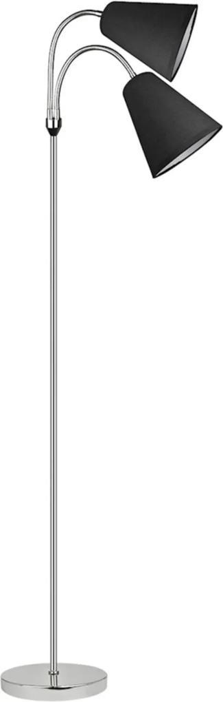 Coluna Florian, 174X23cm, Metal E Tecido Preta 2 Cúpulas ÚNICA
