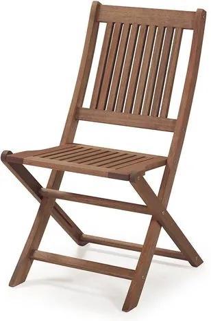 Cadeira Dobrável sem Braços para Áreas Externas em Madeira Eucalipto - Maior Durabilidade - Castanho