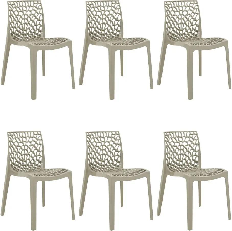 Kit 6 Cadeiras Decorativas Sala e Cozinha Cruzzer (PP) Nude - Gran Belo