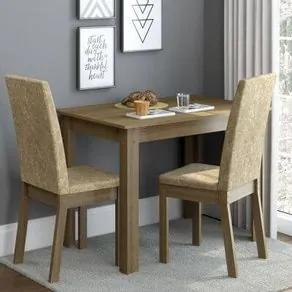 Conjunto Sala de Jantar Madesa Josi Mesa Tampo de Madeira com 2 Cadeiras Rustic/Imperial Cor:Rustic/Imperial