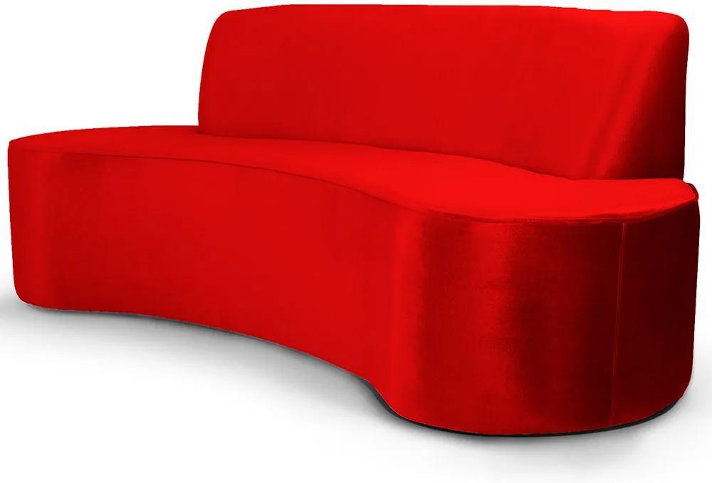 Sofá 3 Lugares Sala de Estar 210 cm Bélgica Veludo Vermelho - Gran Belo
