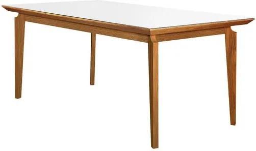 Mesa de Jantar 6 Lugares de Madeira Imbuia com Tampo de Vidro Branco 1,80m Zotz