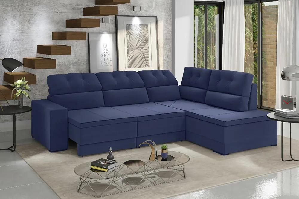 Sofá De Canto Retrátil E Reclinável Fortaleza 1,91m X 2,30m Espuma Soft Tecido Suede Azul Marinho