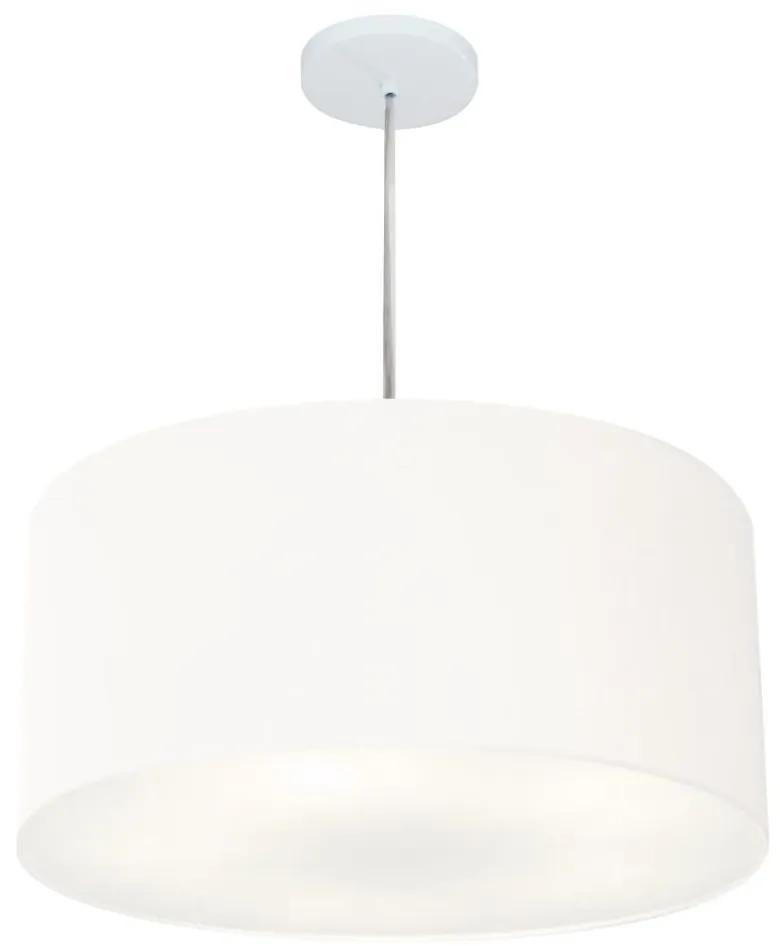 Lustre Pendente Cilíndrico Vivare Md-4219 Cúpula em Tecido 55x25cm - Bivolt - Branco - 110V/220V (Bivolt)