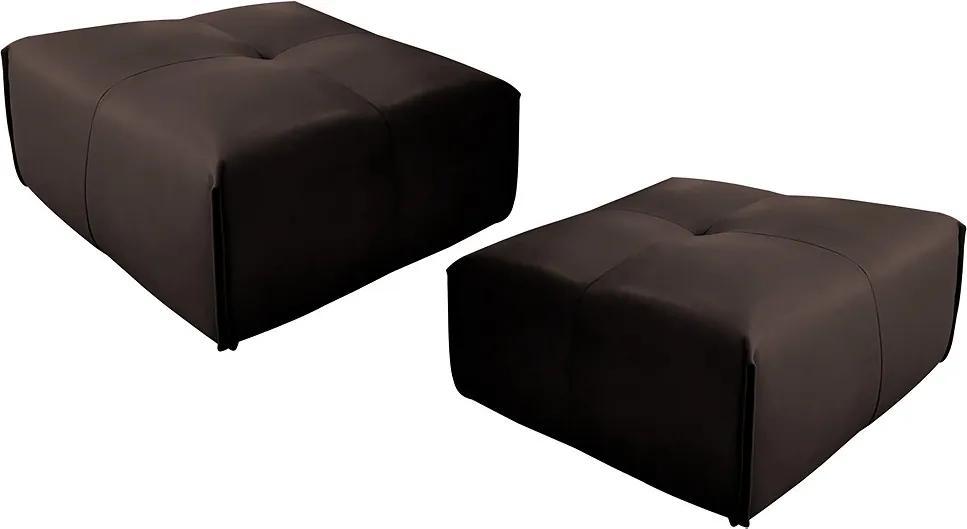Kit 2 Puff Decorativo Sala de Estar Frances Confort Couro Marrom - Gran Belo