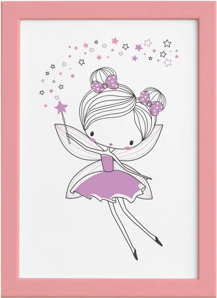 Quadro para Quarto de Menina Fada Lilás Moldura Rosa 22x32cm