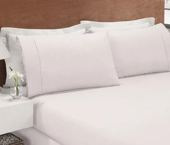 Roupa de Cama Casal Padrão Juliano 03 Peças - Branco Branco