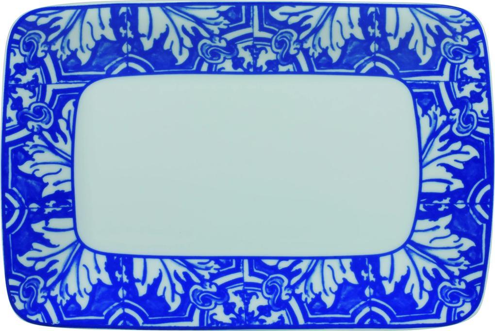 Bandeja Retangular Porcelana Schmidt - Dec. Azulejo