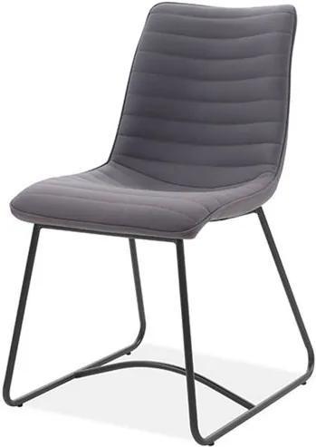 Cadeira Beatriz Tecido Vintage Cinza Escuro Base Preta - 59491 Sun House