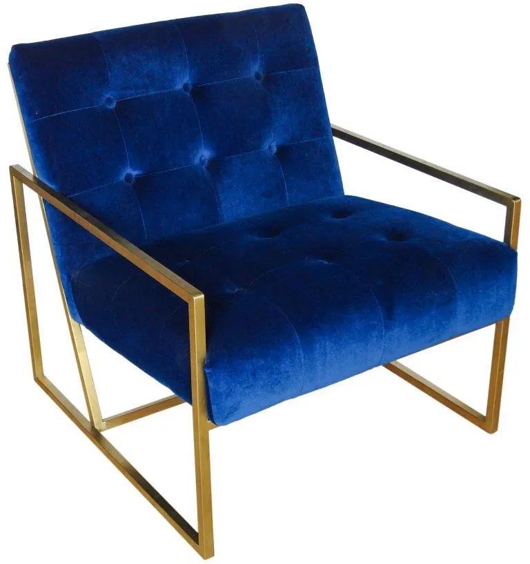 Poltrona em Aço com Estofado Azul - 76x78x72cm