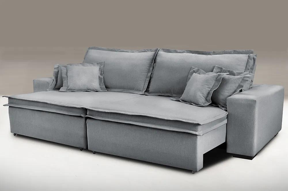 Sofa Retrátil E Reclinável Com Molas Cama Inbox Premium 2,32m Tecido Em Linho Cinza Escuro