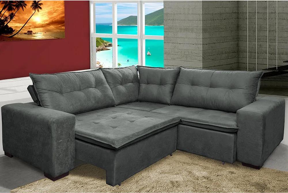 Sofa De Canto Retrátil E Reclinável Com Molas Cama Inbox Oklahoma 2,30m X 2,30m Suede Velusoft Cinza