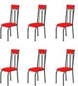 Kit 6 Cadeiras Anatômicas 0.120 Estofada Craqueado/Vermelho - Marcheli