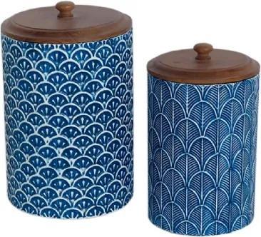 Conjunto de Potes em Metal e Madeira Cilíndrico 2 Peças