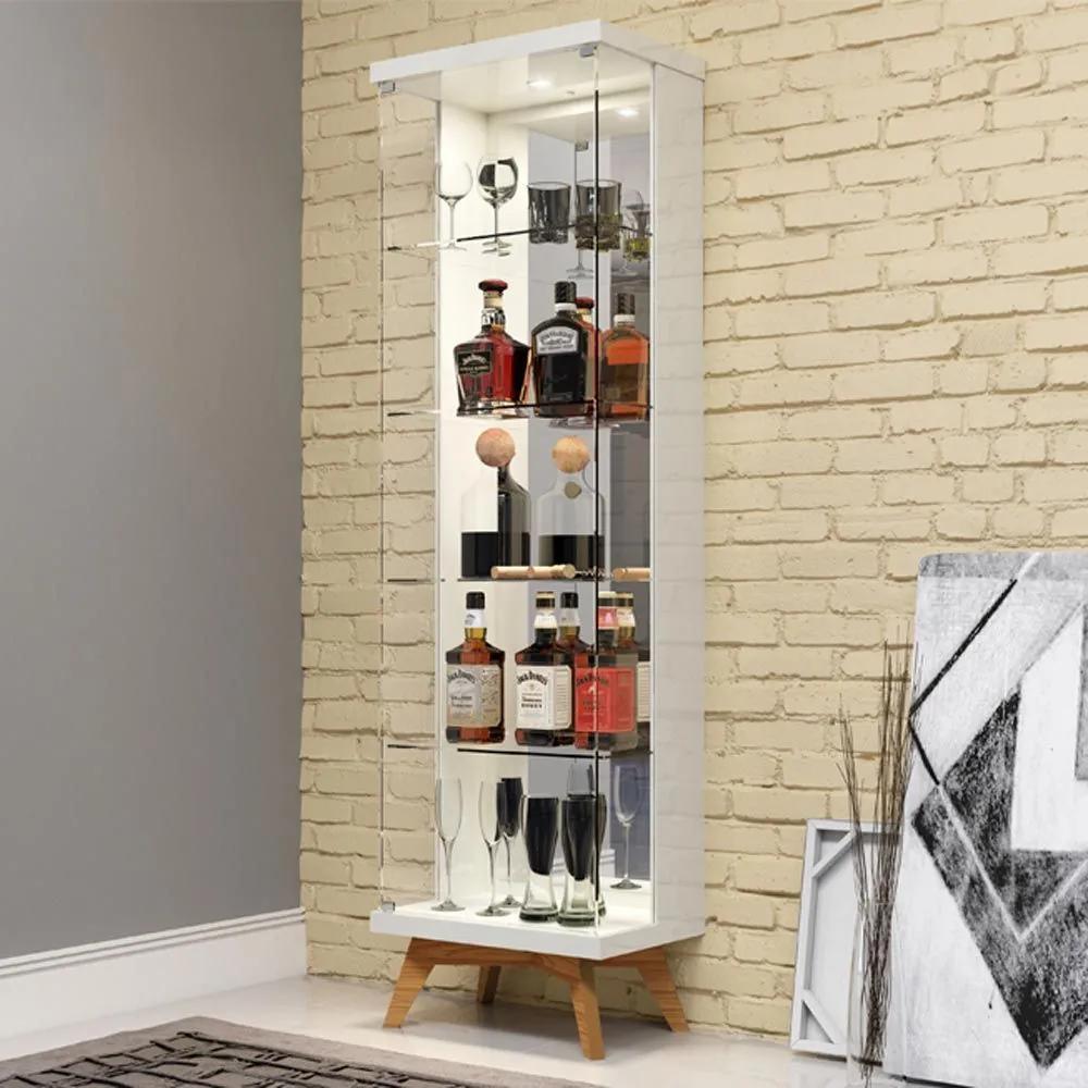 Cristaleira Retrô 1 Porta de Vidro Com Led C715l Off White/Freijo - Dalla Costa