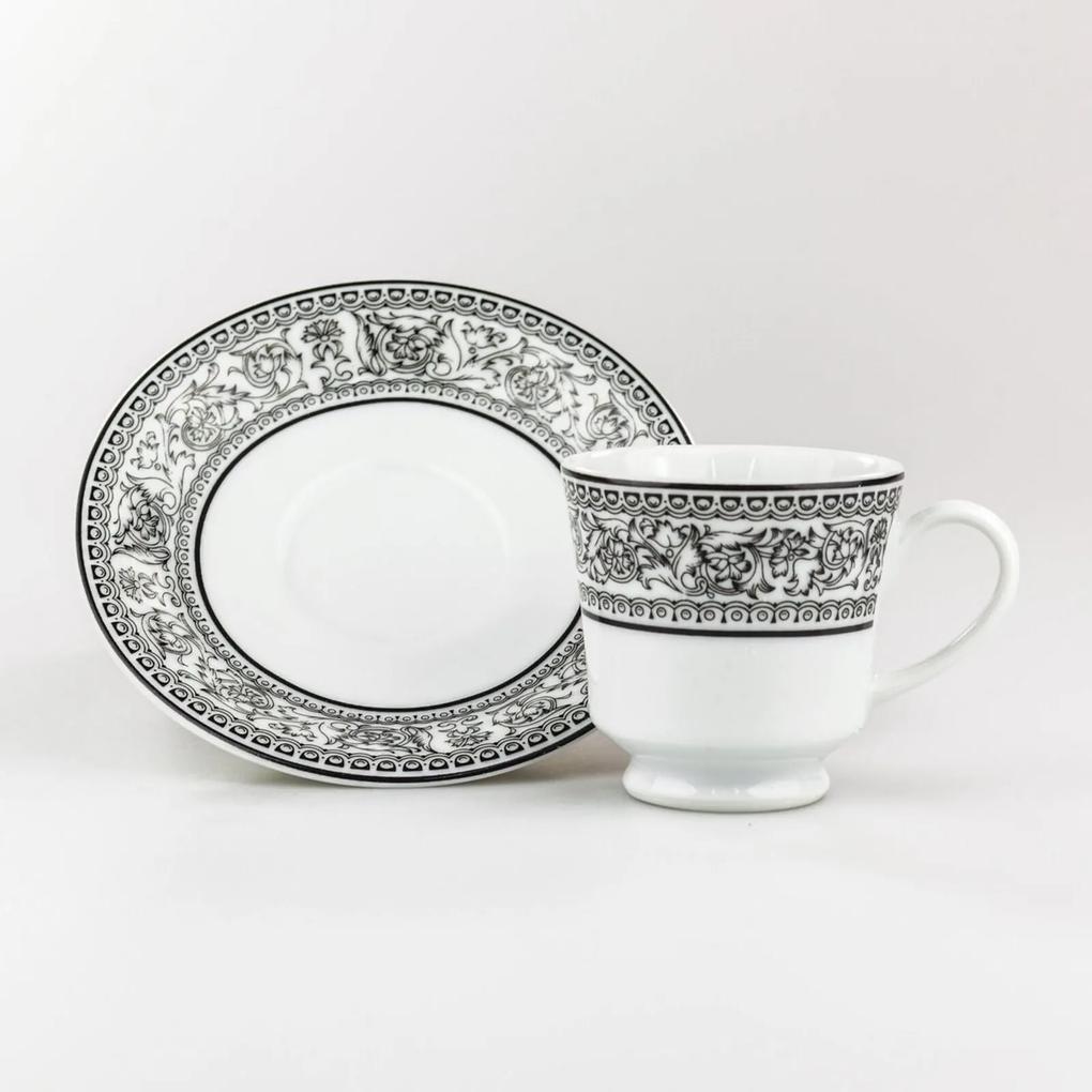 Xícara Café com Pires 60 ml Porcelana Schmidt - Dec. Kate