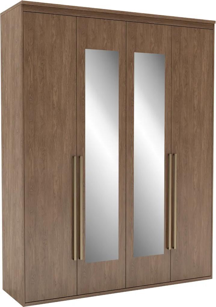 Guarda-Roupa de Solteiro Originale 4 Portas Com Espelho 178,5 cm Ébano - Belmax