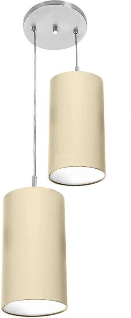 Pendente Cilindrica Duplo De Cupula 14x25cm Bege