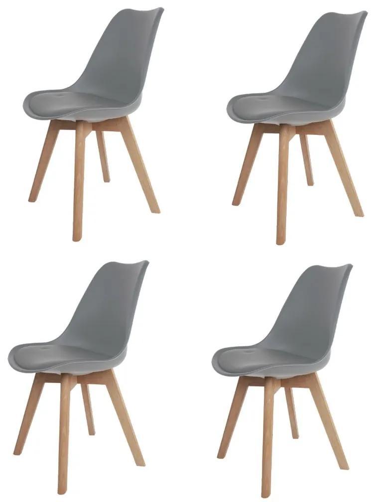 Conjunto 4 Cadeiras Saarinen Wood Cinza - Concept