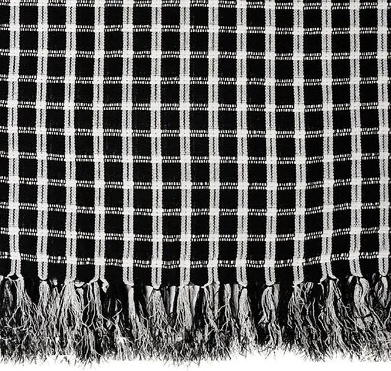 Manta para Sofá Black & White Italiana de 1,40 x 2,00 m Preta