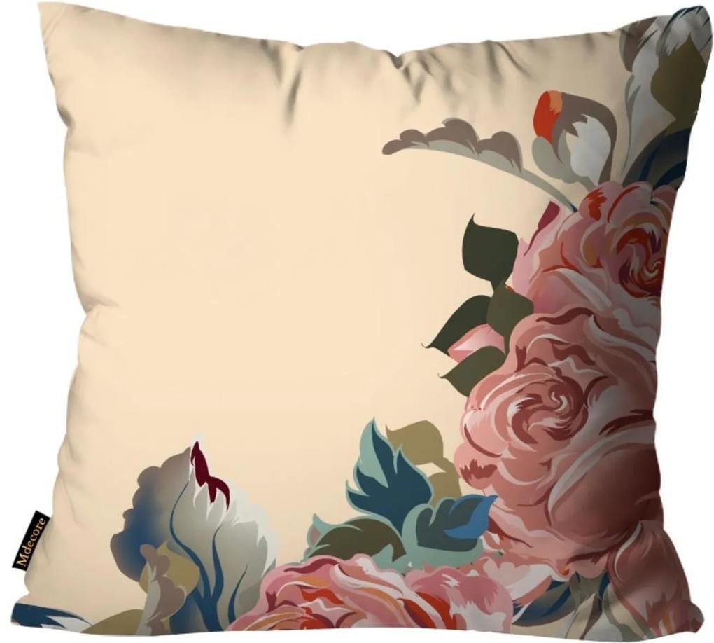 Capa para Almofada Premium Cetim Mdecore Floral Bege 45x45cm