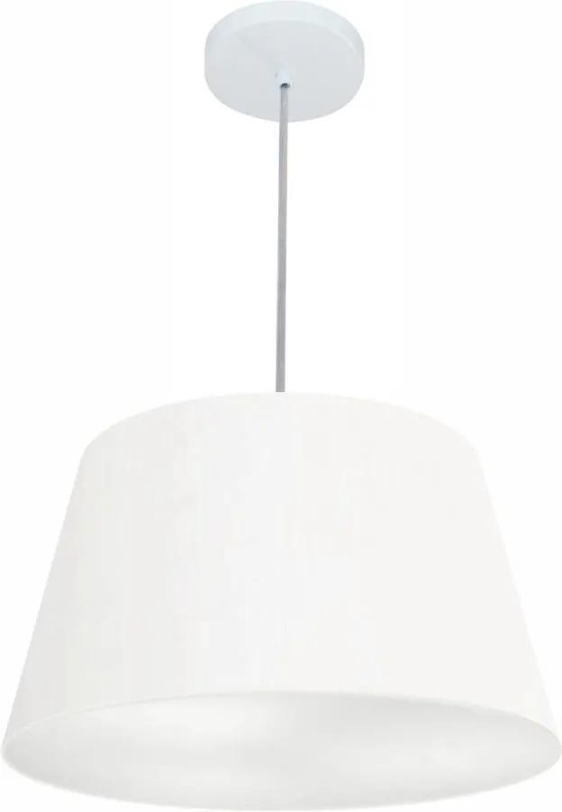 Lustre Pendente Cone Md-4021 Cúpula em Tecido 21/40x30cm Branco - Bivolt