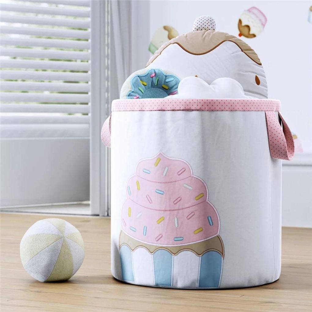 Cesto Organizador para Brinquedos Cupcake 28cm Grão de Gente Rosa