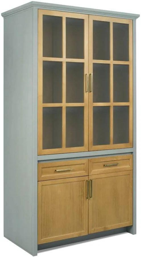 Cristaleira Alta para Cozinha 4 Portas, 2 Gavetas - Módulo Atenas