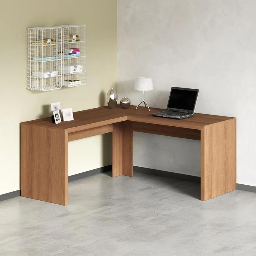 Mesa De Escritório Escrivaninha De Canto Home Office Amêndoa