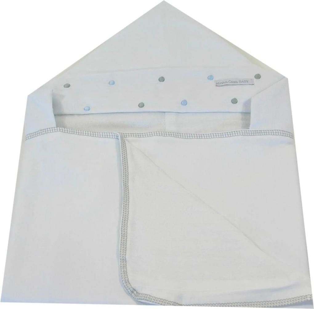 Toalha de Banho em Malha com Capuz Forrada em Fralda Minha Casa Baby TBC3031/4 Poá Cinza/Azul,