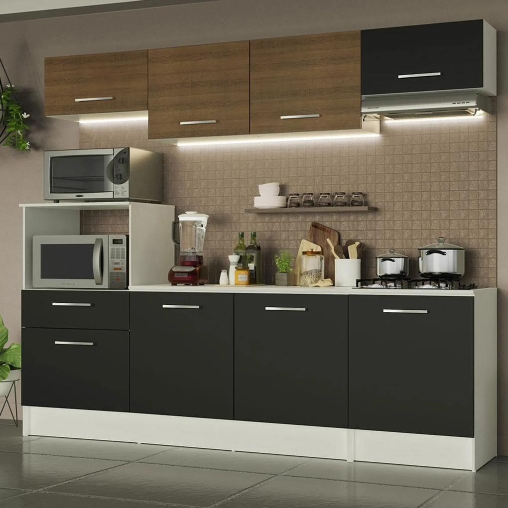Cozinha Completa Madesa Onix 240002 com Armário e Balcão - Branco/Preto/Rustic 09D8 Branco
