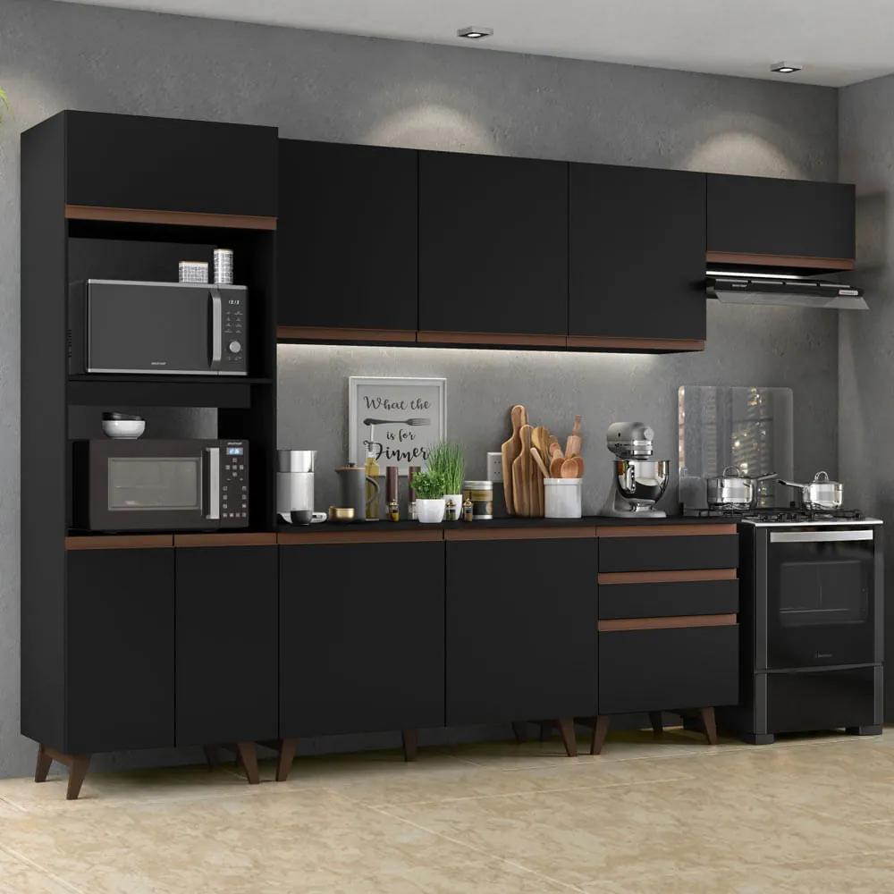 Cozinha Completa Madesa Reims 320001 com Armário e Balcão Preto Cor:Preto