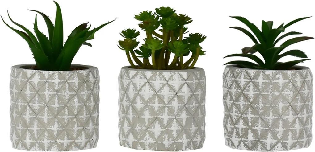 Jogo Kasa Ideia com 3 Vasos com Flores Artificiais