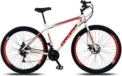 Bicicleta Aro 29 Quadro 17 Aço 21 Marchas Freio a Disco Mecânico Branco/Vermelho - Dropp
