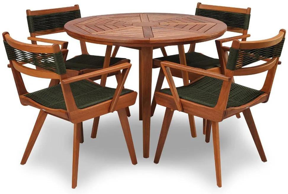 Conjunto de Mesa e Cadeira Nuremberga 100cm em Madeira Maciça
