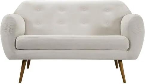 Sofa Liverpool Branco Base Palito Castanho 2 Lugares - 50255 Sun House