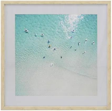 Quadro com Cristal Gravura Mar e Surfistas 80 cm x 80 cm
