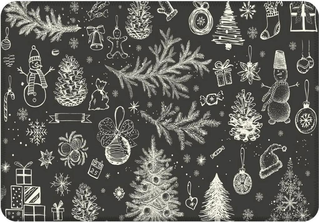 Tapete Sala Love Decor Natal em Giz  Cinza