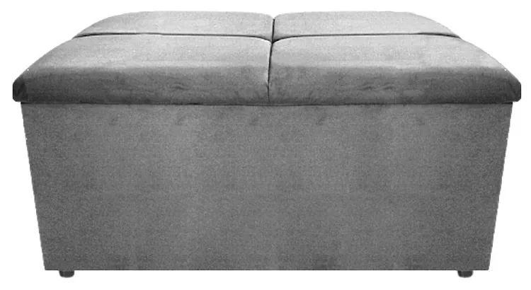 Calçadeira Munique 90 cm Solteiro Suede Cinza - ADJ Decor