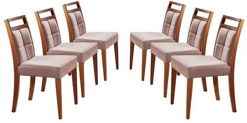 Kit 6 Cadeiras de Jantar Estofada Rosé em Veludo Resim