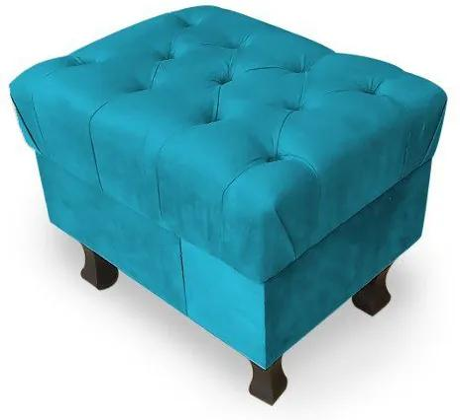 Puff Decorativo Retrô Luis Xv Capitonê Suede Turquesa - Sheep Estofados - Azul