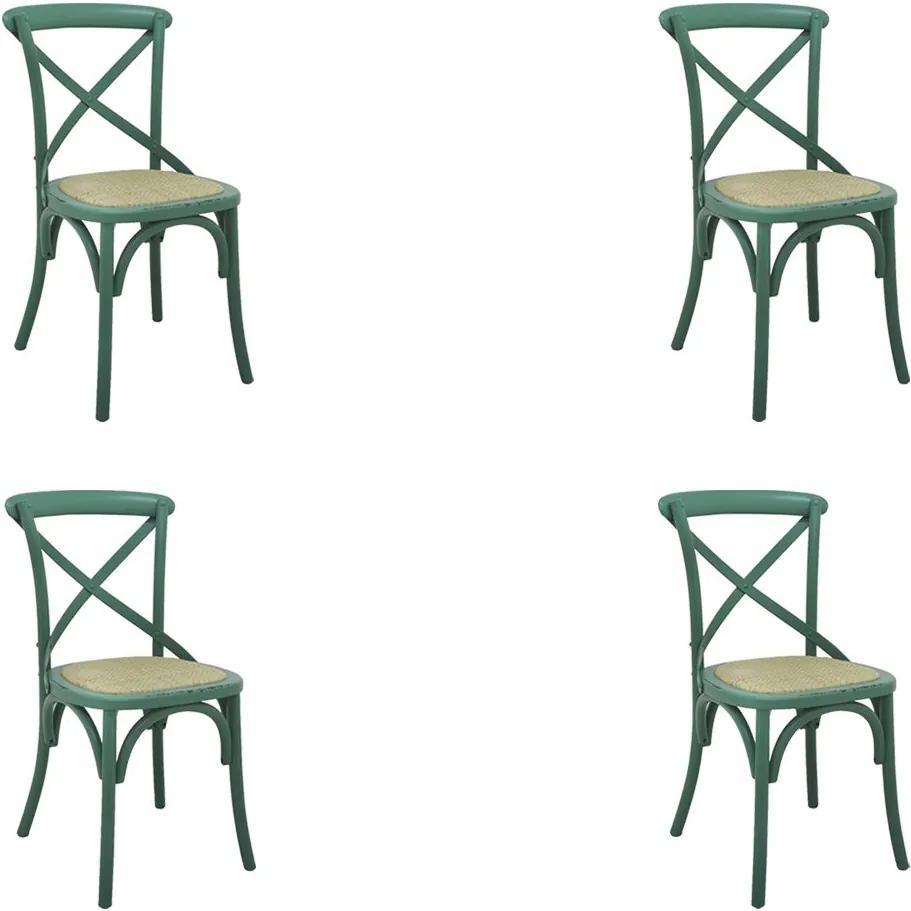 Kit 4 Cadeiras Decorativas Sala De Jantar Cozinha Danna Rattan Natural Verde - Gran Belo