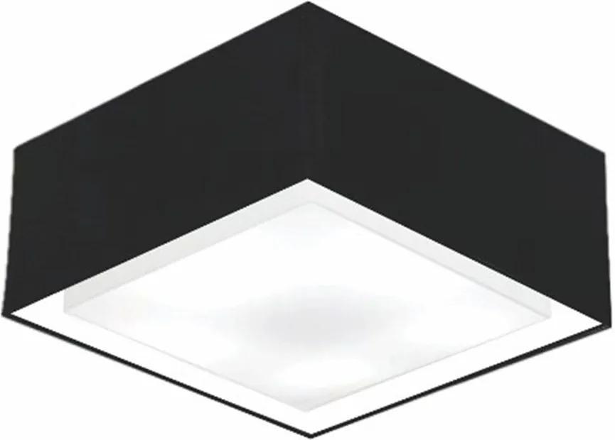 Plafon Quadrado Md-3040 Cúpula em Tecido Dupla 30/70x70cm Preto - Bivolt
