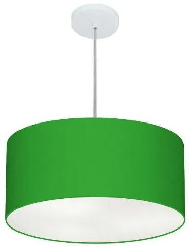 Lustre Pendente Cilíndrico Md-4100 Cúpula em Tecido 50x25cm Verde Folha - Bivolt