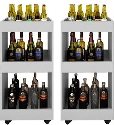 Kit 2 Adegas Bar Multiuso Seul com Rodízios Branco - Mpozenato