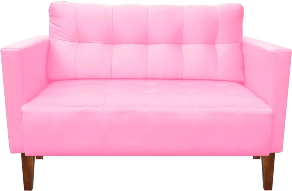 Sofá Retrô Namoradeira 2 Lugares Lívia Suede Rosa Barbie - D'Rossi