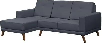 Sofá 3 Lugares com Chaise Direito Capricho Suede Azul Marinho - Mpozenato