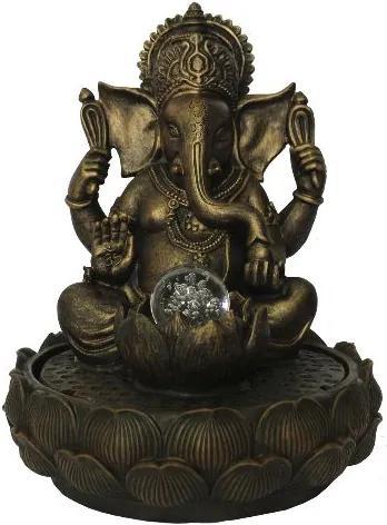 Fonte de Água Ganesha com Flor de Lótus Grande (37cm) - 110v