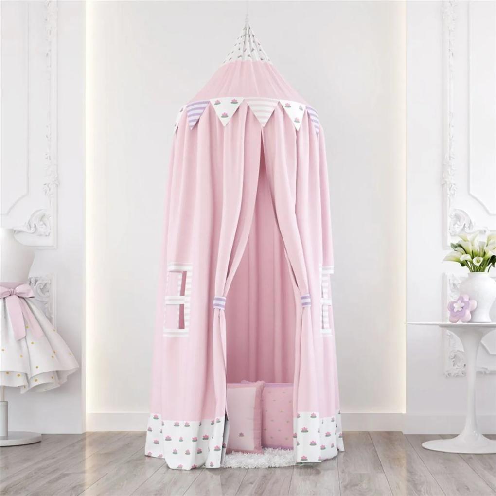 Tenda Dossel Branco e Preto Floral Monet 2m GrÁo de Gente Rosa