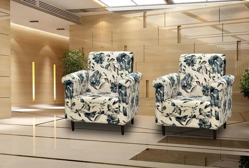 Conjunto com 2 Poltrona Decorativa Betina - Floral Azul
